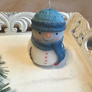 Other - Blue & White Snowman Decor / Candle